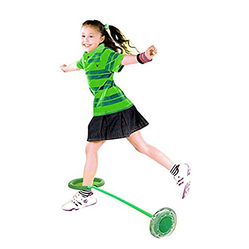 Flashing Jumping Ring Children Colorful Ankle Skip Jump Ropes Sports Swing Ball for Kids Boys Girls Toy Gift Green ()