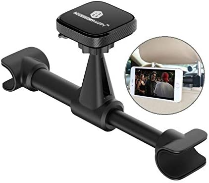 Car Headrest Mount Universal 360 Degree Cell Phone and Car Tablet Mount for car headrest Magnetic Headrest Mount Holder for Vehicles Black