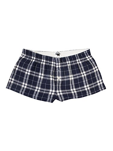 Ultra Soft 100% Cotton Flannel Bitty Boxers For Juniors - Navy/Silver, X-Large (Soft Cotton Short)