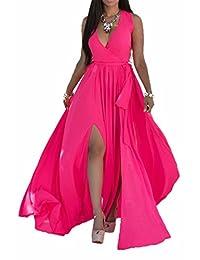 Women Summer Casual Sleeveless V Neck Chiffon Slit Beach Maxi Swing Dress Plus Size