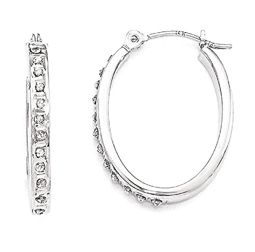 IceCarats 14k White Gold Diamond Fascination Oval Hinged Hoop Earrings Ear Hoops Set For Women