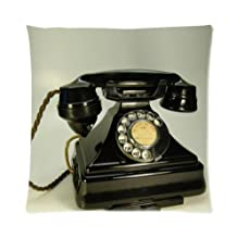 """Popular Hot Sale Black British Vintage Rotary Telephone Pattern Zippered Pillow Case Decor Cushion Covers Square 16"""" x 16"""" Inch (Twin Sides)"""