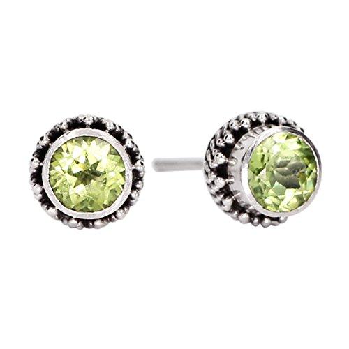 Luna Azure Olivine Peridot Gemstone Sterling Silver 925 Stud Earrings (Olivine Jewel)