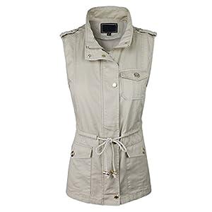 makeitmint Women's Light-Weight Utility Pocket Anorak Jacket Vest w/Drawstring [S-3XL] Medium YJV0028_28TAUPE
