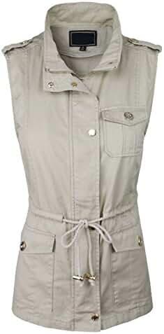 makeitmint Women's Anorak Military Utility Jacket Vest w/ Drawstring [S-3XL]
