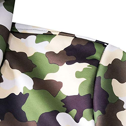 MODOQO Men's Long Cardigan Jacket Casual Camo Zipper Hoodies Coat Outwear