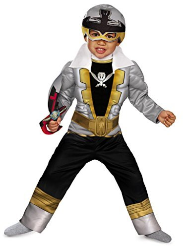 Super Megaforce Muscle Silver Ranger Costumes (Special Ranger Silver Super Megaforce Toddler Muscle Costume by Disguise)