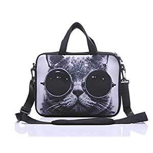 "14 Inch Neoprene Laptop Sleeve Case Bag with shoulder strap For 14"" Notebook/MacBook/Ultrabook/Chromebook (Grey cat with sunglasses)"