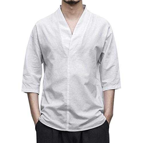NIUQI Men Linen Patchwork Seven-Minute Sleeve Solid Color Loose V Neck Blouse T Shirt White