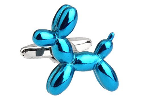 MRCUFF Blue Balloon Dog Puppy Pair Cufflinks in a Presentation Gift Box & Polishing Cloth
