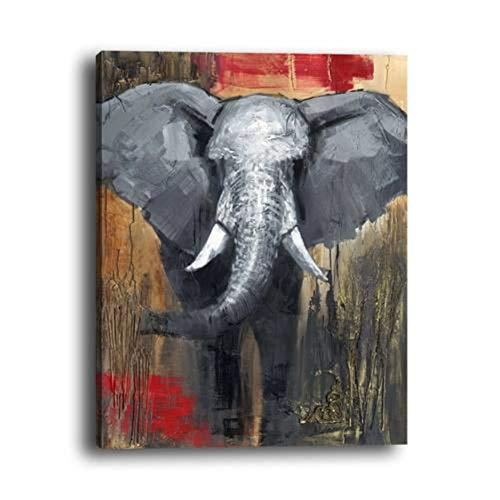 (WOWDECOR Wall Art Modern Canvas Prints Painting - Abstract Elephant Animal Giclee Pictures Printed on Canvas, Wall Decor for Home Living Room Bedroom - DIY Frame (Large))