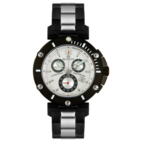 Burett Men's B4203LSSF Continent Collection Black and Stainless Steel Chronograph Diver Watch - Burett Burett Mens Watch