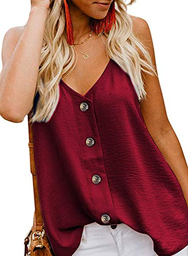 (FaroDor Women's Button Down V Neck Strappy Tank Tops Loose Casual Sleeveless Shirts Blouses Wine Red Small)