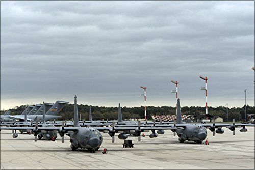 24x36 Poster . Mc-130 Hercules 352Nd Special Ops Group C-17 In Background (Special Ops Group)