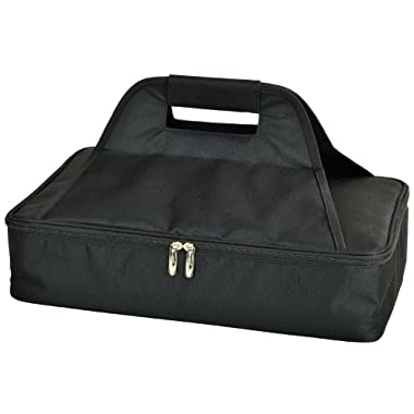 Picnic at Ascot Insulated Casserole Carrier to keep Food Hot or Cold- Black
