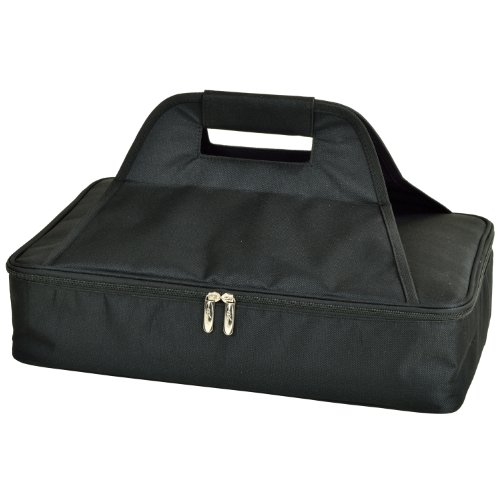 Black Insulated Food Carrier (Picnic at Ascot Insulated Casserole Carrier to keep Food Hot or Cold- Black)