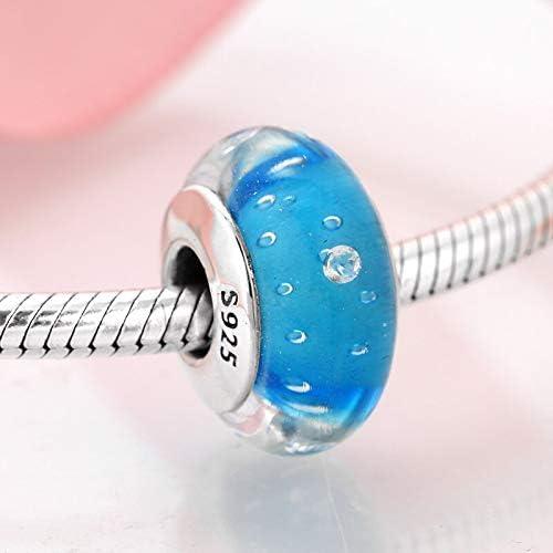 DFGSDFB 925 Plata esterlina Azul Claro Burbuja Cristal de Murano Granos encantos encantos Originales Pulsera fabricación de Joyas
