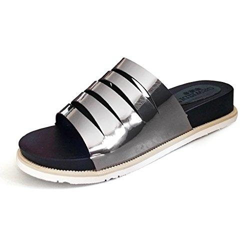 PENGFEI Chanclas de playa para mujer Zapatillas femeninas Moda sandalias inferiores gruesas del talón de la parte inferior gruesa antideslizante hueco del verano de la personalidad Cómodo y transpirab La Plata