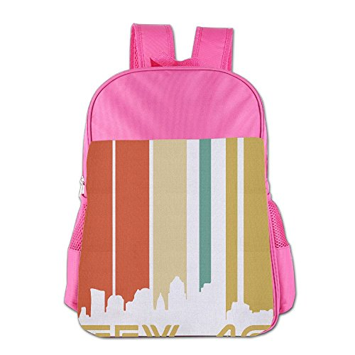 Retro 1970's Austin Texas Cityscape Downtown Skyline School Backpack Children Shoulder Daypack Kid Lunch Tote Bags ()