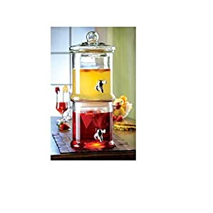 Stylesetter Double Stacked Glass Beverage Dispenser- Each Section 125-Ounce