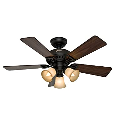 Hunter 53082 The Beacon Hill 42-Inch Ceiling Fan with Five Walnut/Cherry Blades and Light Kit, New Bronze