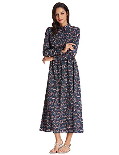 Country Style Dress (Grace Karin Women's Vintage Floral Print Country Flare Party Dress Size XL Blue)