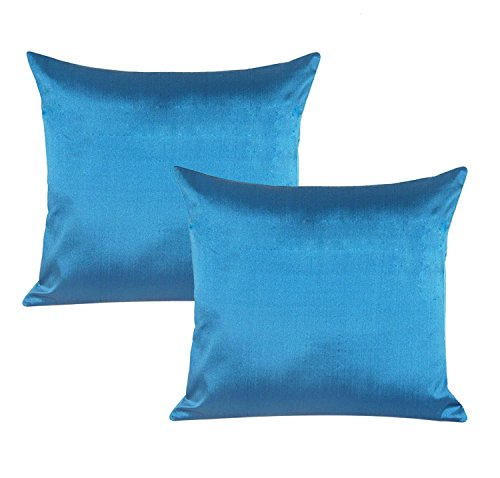 - 1 Pair Poly Taffeta Silk Sky Blue Cushion Cover Square Pillow Case Bed Sofa Case Home Decor 18