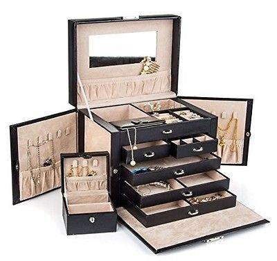 Generic athe Case Organizer ng Di Storage Box Travel Box Travel Large Black h Ring Dis Leather Jewelry ck Leather Je Watch Ring Display ck Leather