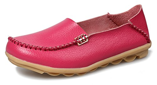 Rose Labato Driving Shoes Women's Red Driving Casual Loafers 4 Flat Cowhide Leather Moccasin vrfwAxnvHq
