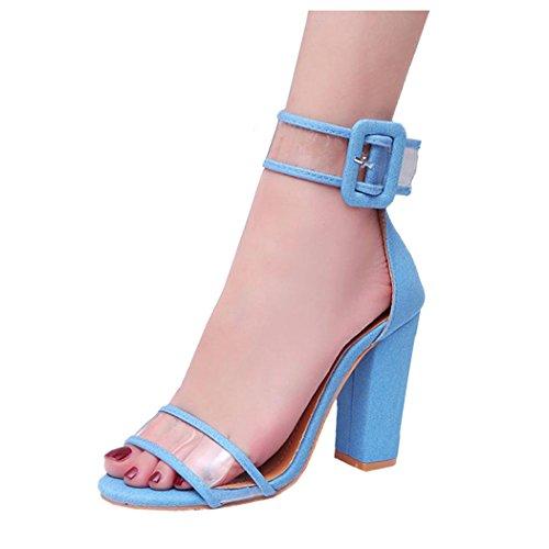 hunpta Womens Ladies Block High Heel Sandals Ankle Platforms Shoes Buckle High Heels Blue licsJdj