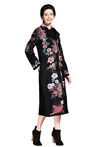 Ladies Notched Collar Floral Embroidered Long Wool Coat Black 12 (Floral Wool Coat)