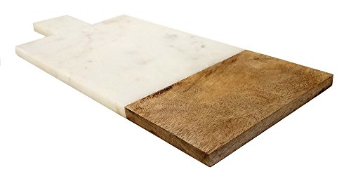 Mountain Woods  16 X 7 Genuine French Marble Stone and Mango Wood Cheese/ Cutting Board/Paddle Board