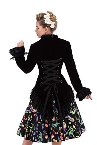Hearts & Roses Womens Velvet Victorian Steampunk Tailcoat Corset Back - Black (US 4) by Hearts & Roses (Image #2)