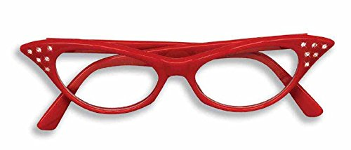 Forum Novelties 50's Rhinestone Glasses, - Fantasy Red Glass