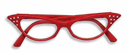 Forum Novelties 50's Rhinestone Glasses, Red