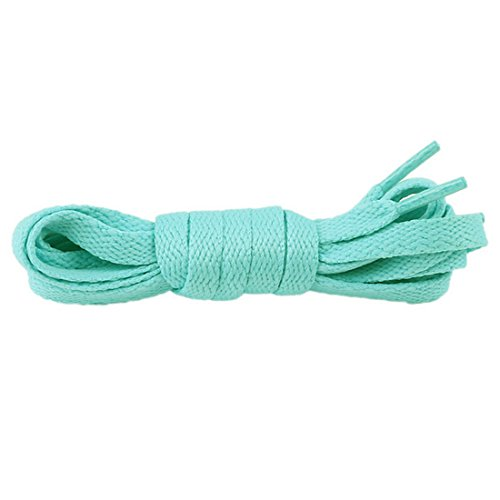 HANYI Best Flat Laces Strings Multicolor Shoelaces for Adult and Kids, Running, Climbing, Working, Ideal for Sneakers and Boots, Canvas Sports Shoes (Mint Green, 120 x 0.9x 0.15cm)