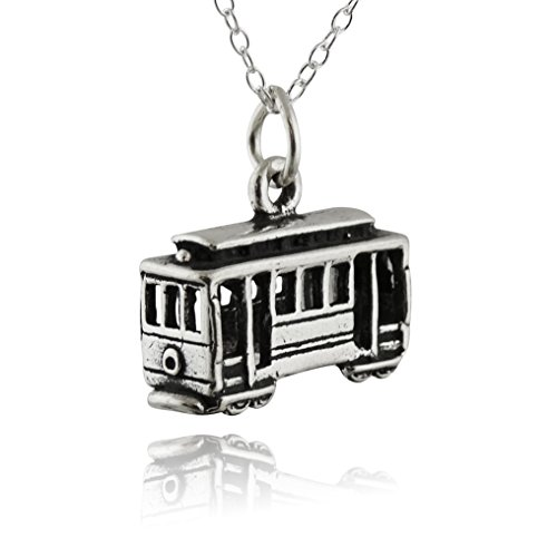 Sterling Silver 3D Cable Car Charm Necklace, 18