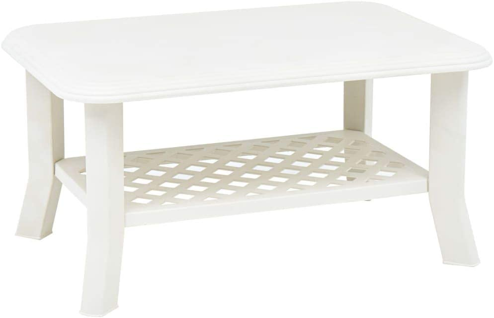 "vidaXL Coffee Table with a Storage Shelf,Garden Outdoor Coffee Table,Side Patio Furniture Table,Lightweight and Easy to Move Around,White 35.4""x23.6""x18.1"" Plastic"
