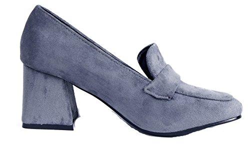 Tacco On Donna AgeeMi Donna Camoscio Faux Chiusura Shoes Scarpe Grigio con Slip Medio qaa8Wt