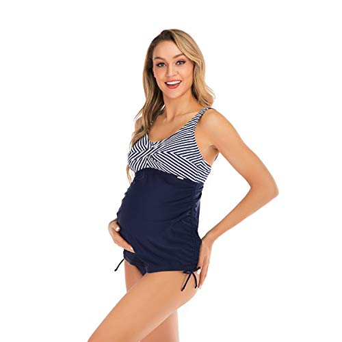 Two Piece Maternity Dress - OUISISI Maternity Swimsuit Two Pieces Tankini Striped Padded UPF 50+Pregnant Beach Wear Navy