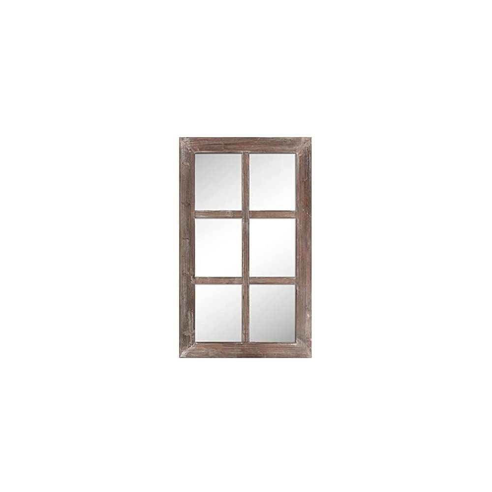 "Barnyard Designs 24"" x 40"" Decorative Windowpane Mirror, Rustic Farmhouse Distressed Wood, Vertical or Horizontal Hanging Mirror Wall Décor, Brown"