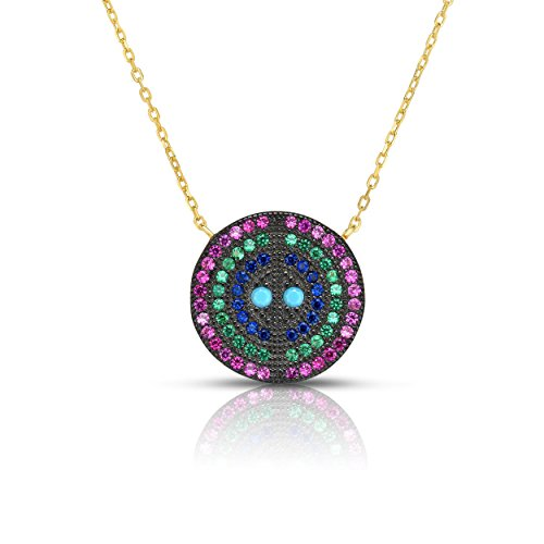 (Sterling Silver 4-Multiple Colors Circular Nano Pendant Necklace with Adjustable Length 16