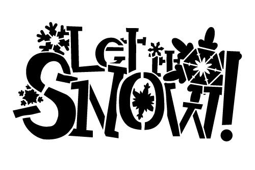 Let It Snow Stencil by StudyR12 | Festive Snowflakes and Word Art - Small 9 x 6-inch Reusable Mylar Template | Painting, Chalk, Mixed Media | Use for Journaling, DIY Home Decor - STCL238_1 (6x9 Template)