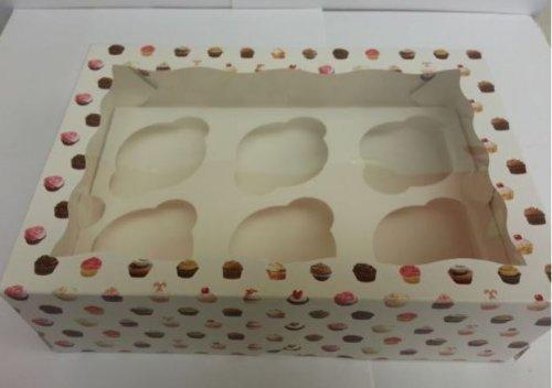2 cajas con ventana para cupcakes cada una tiene capacidad para 6 magdalenas con insertos