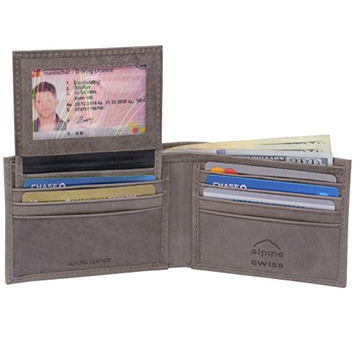 (Alpine Swiss Mens Leather Wallet 2-In-1 Bifold Flip up Removable Card Case Grey)