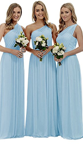 liangjinsmkj Women's One Shoulder Bridesmaid Dresses Long Asymmetric Chiffon Wedding Party Gowns Ice Blue US2