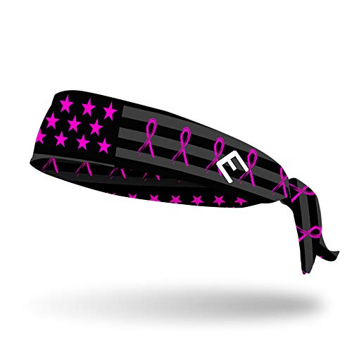 Elite Headband - Elite Athletic Gear Tie Headbands 20+ Designs! Unisex (Adults & Children) Best for Sports, Fitness, Working Out, Yoga. (Breast Cancer Awareness USA Flag)