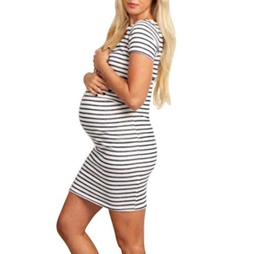 Vestido Cuello Rodilla Color Elasticidad Mujeres Rayas Elegante delgada redondo corta de Adeshop Moda Fiesta Embarazadas Ropa maternidad Falda Para de puro Negro manga Faldas Elegante fBOFEqwnP
