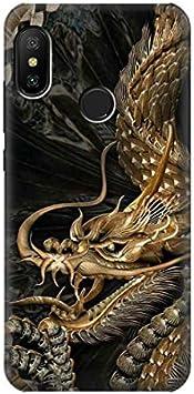 Innovedesire Gold Dragon Funda Carcasa Case para Xiaomi Mi A2 Lite (Redmi 6 Pro)