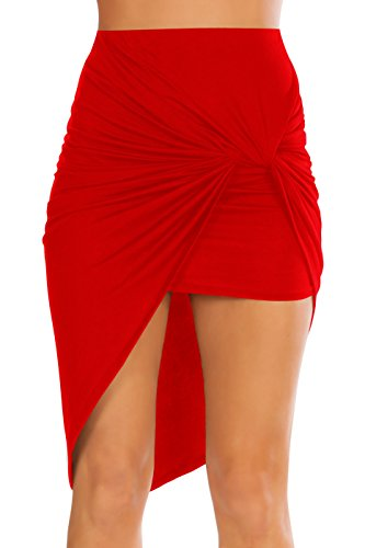 Simlu Womens Drape Up Stretchy Asymmetrical High Low Short Mini Bodycon Pencil Skirt Red Small